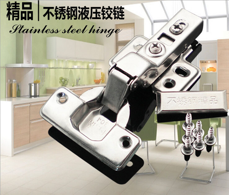 New Stainless Steel Hydraulic Buffer Hinge Aircraft Pipe Cabinet Door Wardrobe Hinge Furniture Hardware Soft Closing Door(China (Mainland))