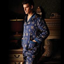 new arrival men autumn winter thickening sleepwear male 100% pure silk nightgowns long-sleeve pajamas set silk cotton-padded-b28(China (Mainland))