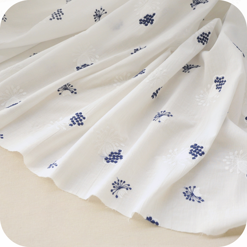 FREE SHIPPING Pure cotton colored blue and white cotton lace embroidery cloth handmade DIY doll dress skirt material accessories(China (Mainland))