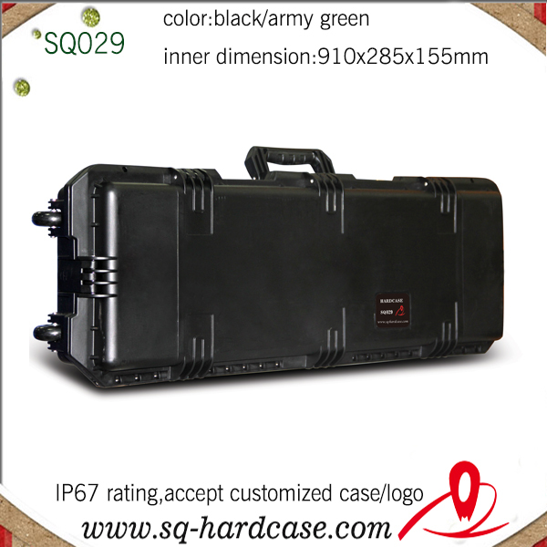free shipping hard plastic waterproof shockproof wheeled gun case with latches(China (Mainland))