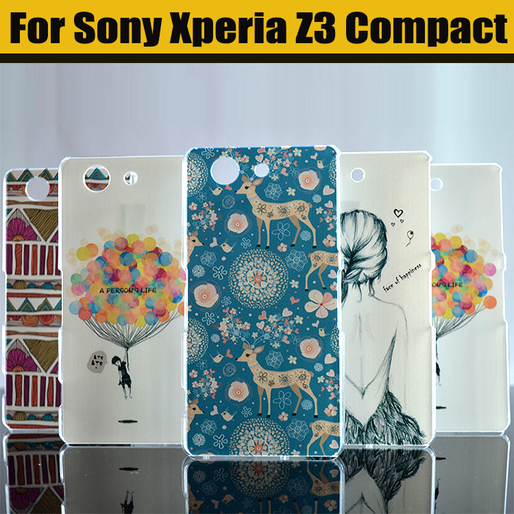 New Hot High Quality Painted Cute Cartoon UV Print Hard Housing Cover Case For SONY Xperia Z3 Compac