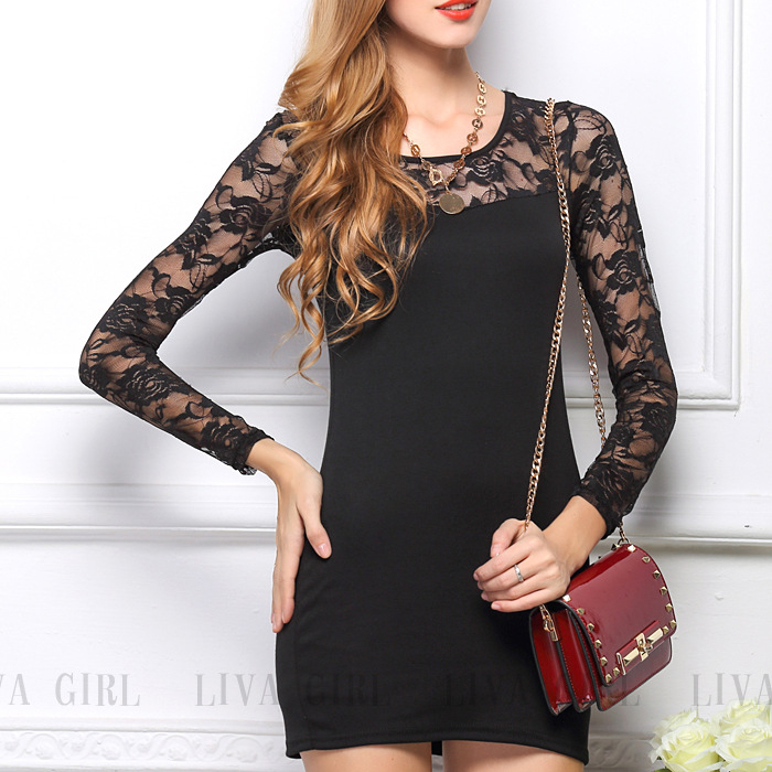 New Fashion Women Ladies Slim Fit Bodycon Dress Lace Tunic Wear Splicing Elegant Floral Pencil Dress free shippingОдежда и ак�е��уары<br><br><br>Aliexpress