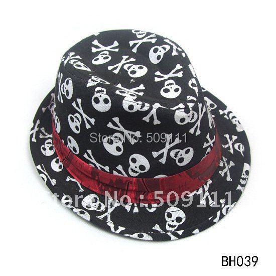 New fashion Skull Fedoras Dicer Baby hats Kids Canvas tirlby hat top Hat Children Jazz cap Gangster' hat 10pcs BH039