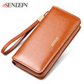SENDEFN Oil Wax Cowhide Leather Wallet Women Clutch Credit Card Holder Coin Women s Purse Leather