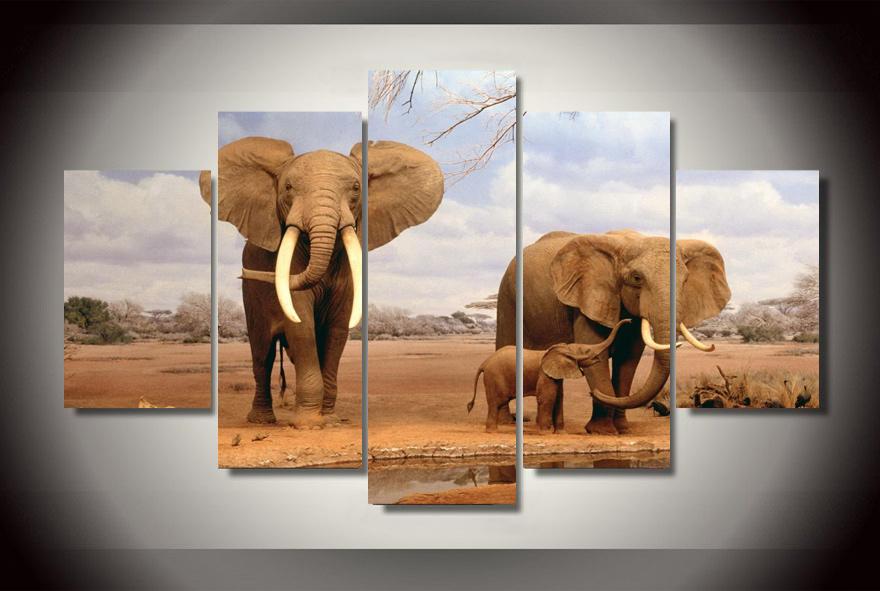 online kaufen gro handel afrikanischer elefant gem lde aus. Black Bedroom Furniture Sets. Home Design Ideas
