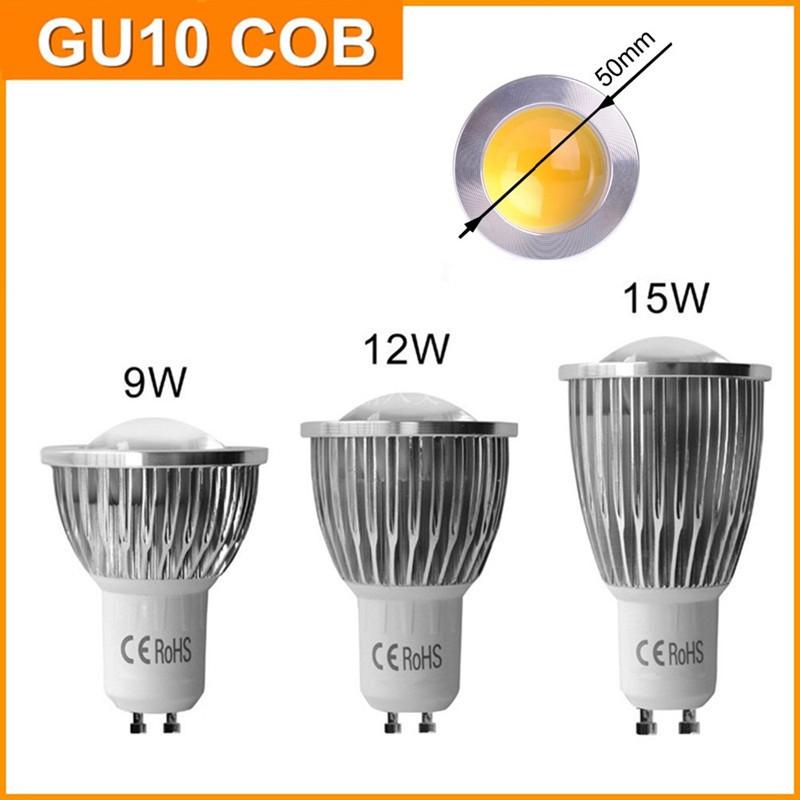 2015 New Arrival LED GU10 COB 9W 12W 15W 110V 220V Light Bulb Dimmable GU10 COB Cold Warm White Spotlight Lamp Free Shipping(China (Mainland))