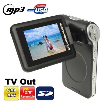 New DV002 3.0 MP 4X Zoom Cheap Portable Digital Video Camera with 2.4 inch TFT Screen 270 degree RotatableInterpolation(China (Mainland))