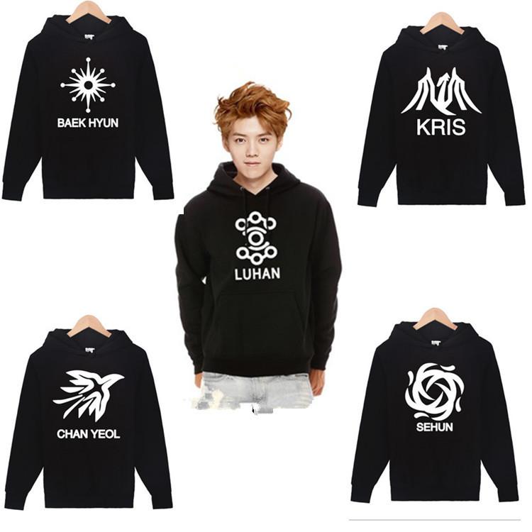 Winter 2015 Women Hoodies EXO Korean Couple KPOP Clothes Fleece Crewnecks Black Graphic Sweatshirts S-XXL - Cathy's Top Fashion Store store