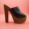 Black Thick Sole and Platform Soft Leather Open Toe Slides Platform High Heels Women Sandals Comfortable