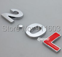 Car Rear Trunk 2.0 L Metal Emblem Sticker Logo Number Letter Chrome Red New - Great auto-parts store