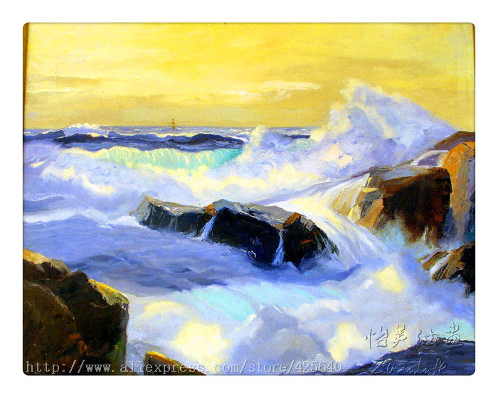 ocean waves crashing oil painting Impression Seascape Oil painting seaside on canvas hight Quality Hand-painted Painting 2(China (Mainland))