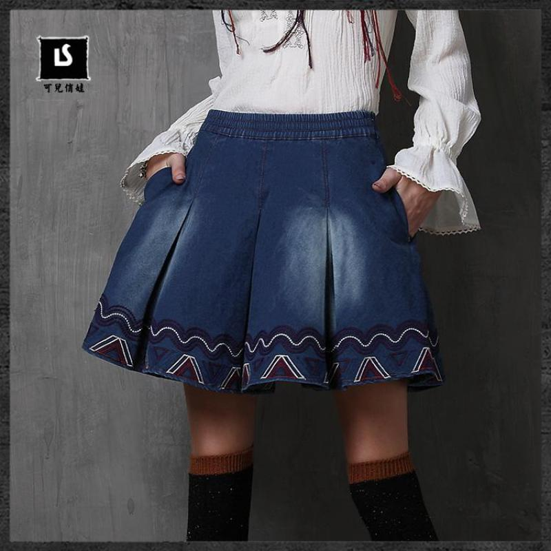 2016 fall retro style skirt embroidery denim