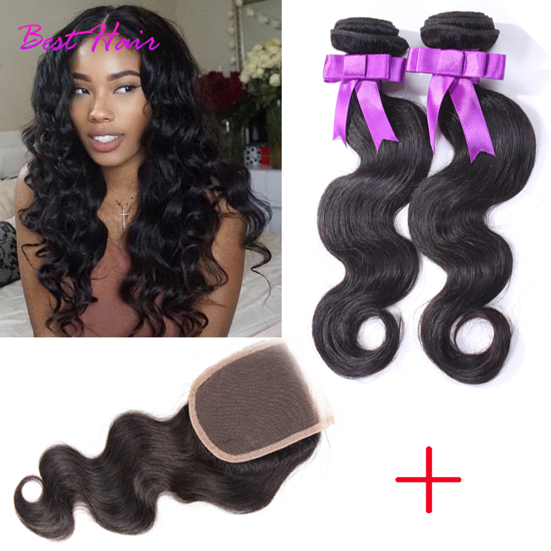 Grade 7A Virgin Hair Body Wave Brazilian Virgin Hair with Closure Human Hair weave with closure Brazilian Body Wave with Closure<br><br>Aliexpress