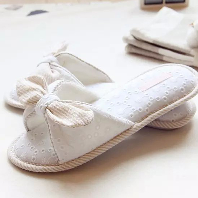 Japanese and Korean style simple embroidered slippers home floor slip waterproof breathable and comfortable slippers cotton slip<br><br>Aliexpress