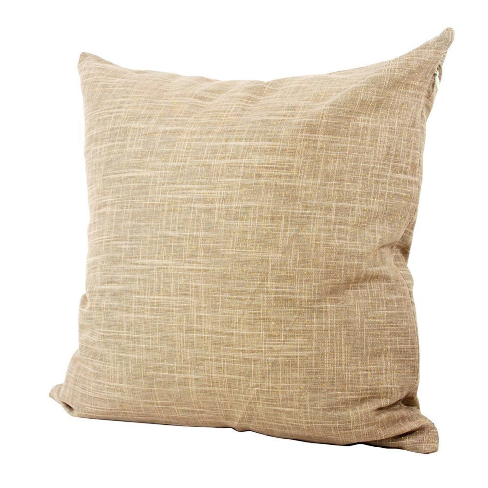 Ramie Cotton Square Toss Pillowcase Cushion Cover Handmade Khaki Twinkling Throw Pillow Case ...