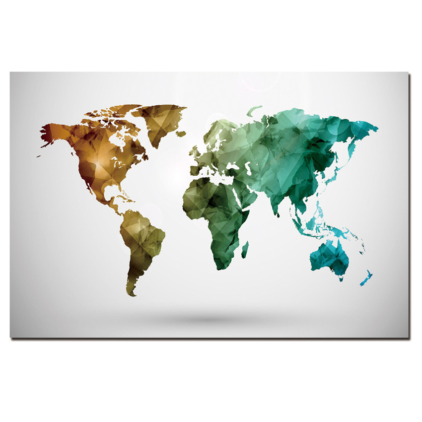 1 Panel Modern Abstract Map Painting On Canvas Wall Art