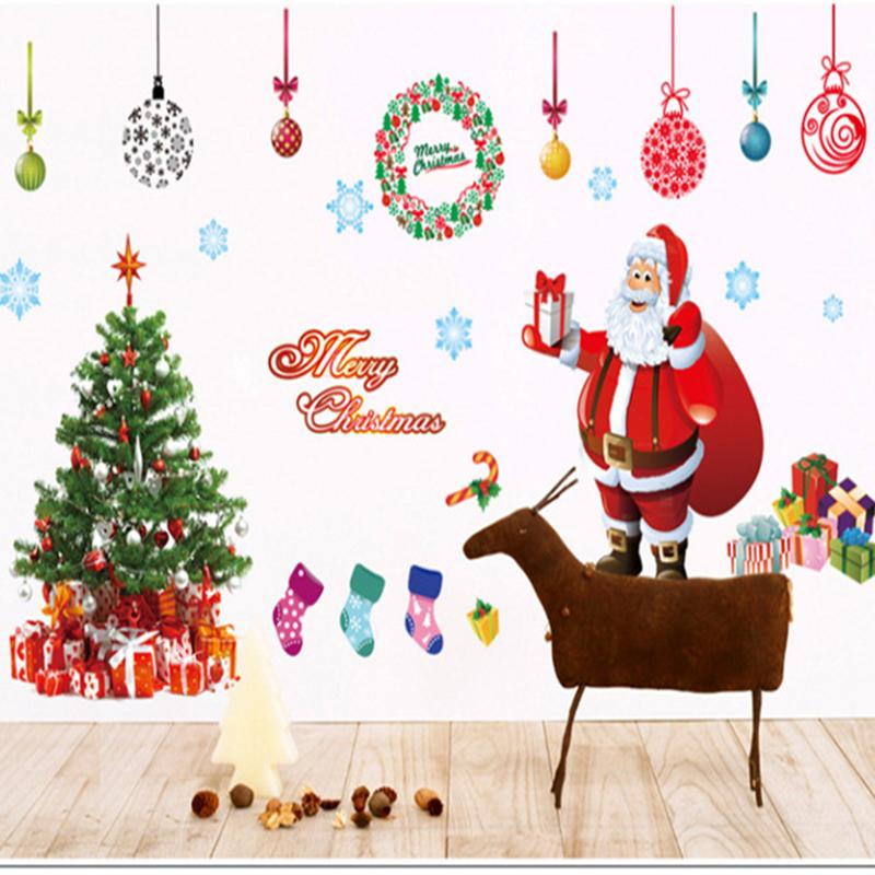 free shipping merry christmas wall sticker diy santa claus