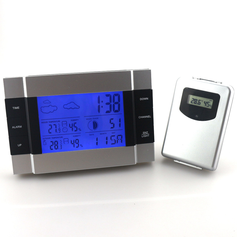 RF Wireless Weather Station remote sensor Alarm Clock Indoor Outdoor Thermometer Hygrometer Blue Backlight - At finger technology Co.,Ltd store