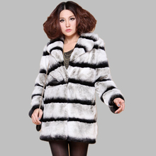 Top Quality Natural Real Rex Rabbit Fur Coat Medium Women's Chinchilla Winter Warm Jackets Genuine Fur Coats Outerwear BF-C0038