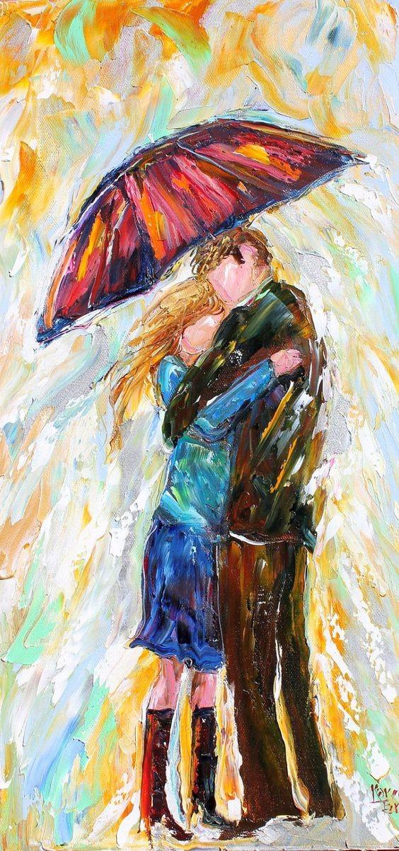 Buy Original Abstract Figure Oil Painting Umbrella Rain Couple Modern Impressionism Palette Knife FIne Art by Karen Tarlton cheap