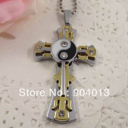 10pcs Double Cross Pendant Stainless Steel Chain Chinese Tai Ji Yiyang Cross Necklace the Great ultimate