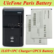 1 lote = 1 unid Universal del cargador del muelle + 2 unids Ulefone Paris batería 100% batería Original 2250 mAh Li ion de copia de seguridad Bateria Batterij(China (Mainland))