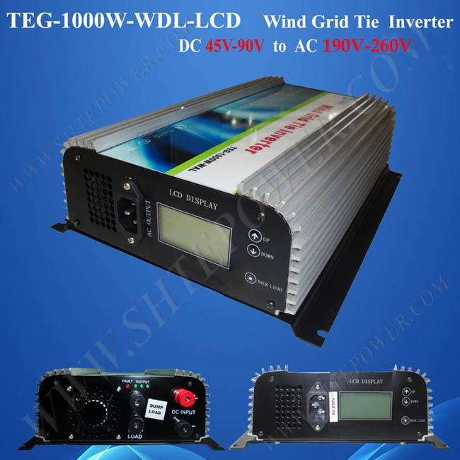 Pure Sine Wave DC 45-90v to AC 220v 230v 240v Grid Connect Wind Invertor 1000w(China (Mainland))