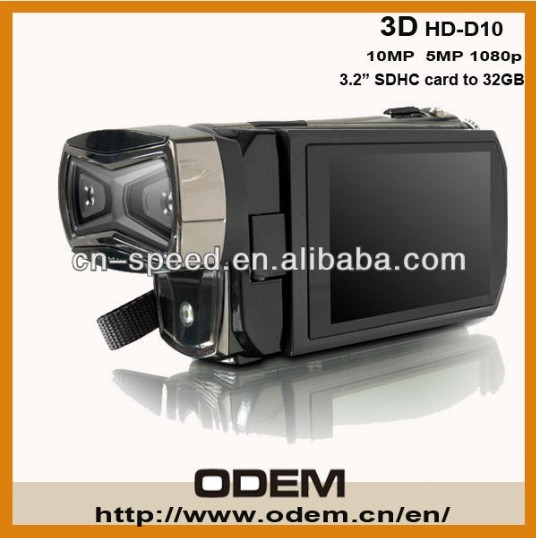 1080P HD-D10 3D Camcorder  Full HD Camera Digital Video Camera LCD Build-in Dual CMOS Sensor,Free 8GB SD Card, Free shipping