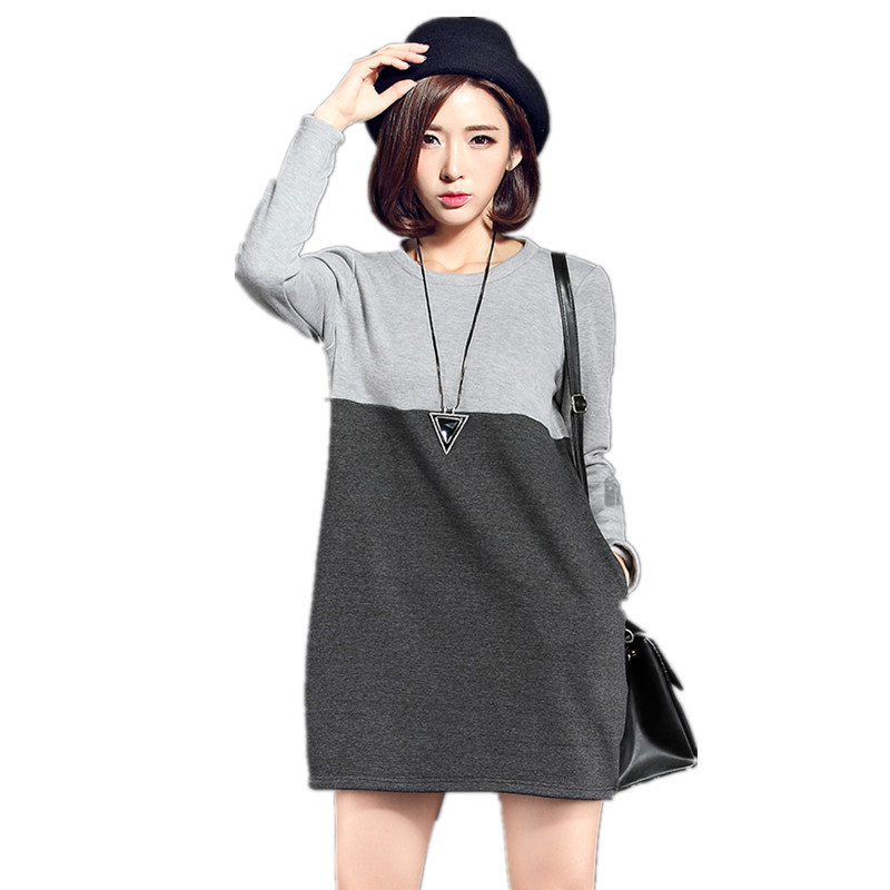 Dress Maternity 2016 Autumn And Winter Fashion Large Size Loose Solid Color Plus Velvet Clothing ...