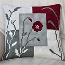 Flower pattern 2016 DIY Needlework Kit Acrylic Yarn Embroidery Pillow Tapestry Canvas Cushion Front Cross Stitch Pillowcase - YZXINYUANCROSSSTITCH store