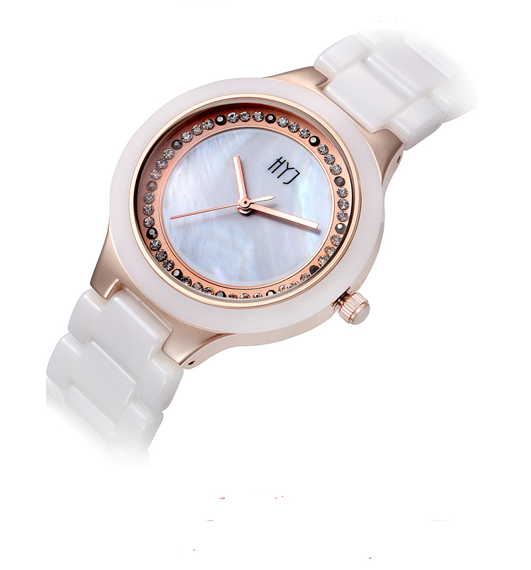 2015 HYJ Women Fashion Watch Best Selling real ceramic Wristwatch Analog Crystal  Dial Rhinestone Watches Ladies  h251<br><br>Aliexpress
