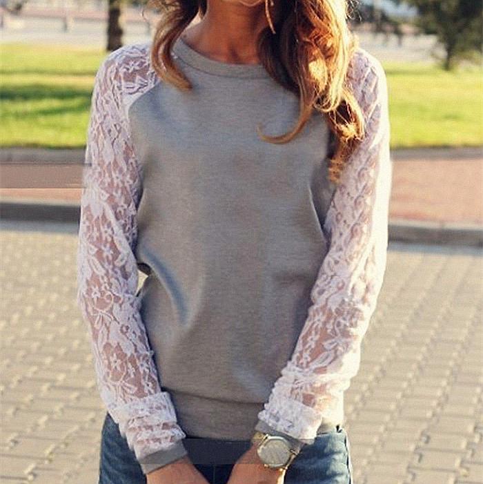 2015 Women Hoodies Spring Autumn Fashion Lace Patchwork Pullover Sweatshirt Women Sport Suit Casual Hoodies Sweatshirts XXL