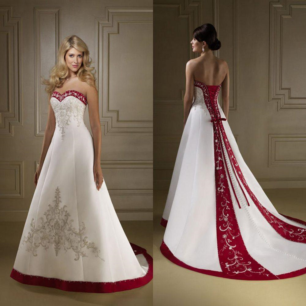 Exquisite strapless red and white wedding dresses a line Red a line wedding dress