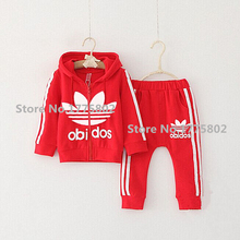 2015 autumn baby girl clothes big boy clothes children's clothing set tracksuit long-sleeved jacket+pants kids sport brand new(China (Mainland))