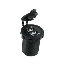 Auto moto Dual USB chargeur de voiture adaptateur prise de courant étanche téléphone Mobile chargeur camion Minibus pour vtt bateau(China (Mainland))