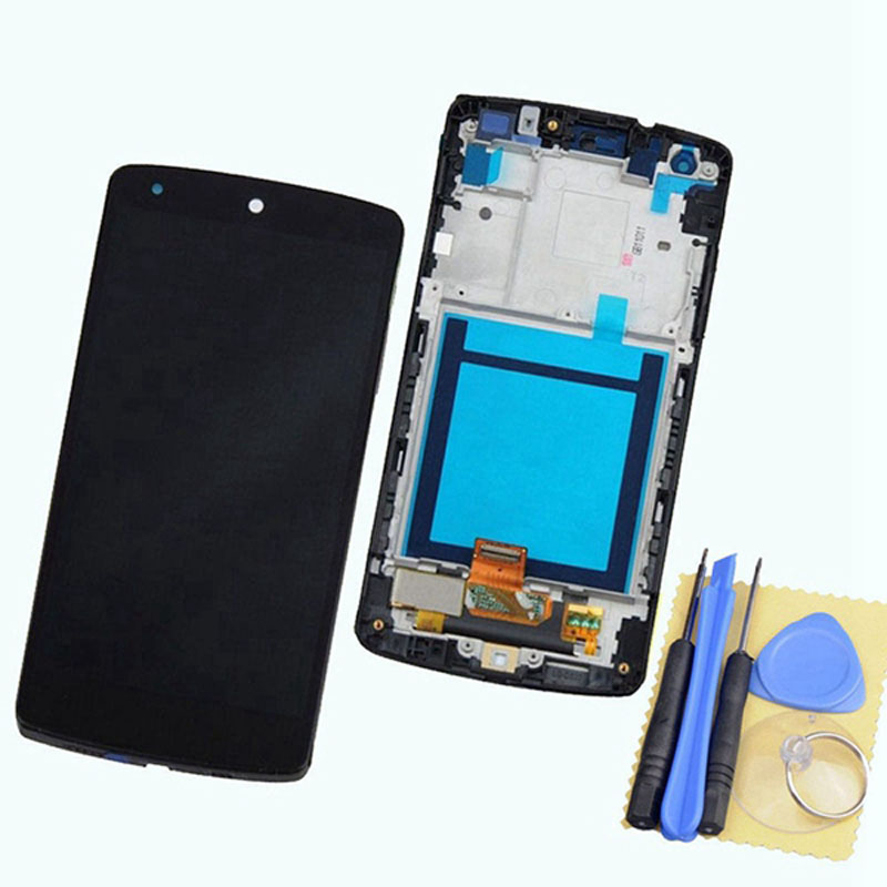 For LG Google Nexus 5 D820 D821 LCD Screen + Touch Digitizer Panel + Bezel Frame Assembly Replacement Black Color + Open Tools