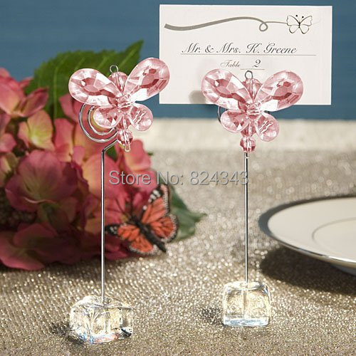 Small s+Exquisite Crystal Butterfly Place Card Holders Wedding Favors Bridal Shower Favors+1+ - Romantic Gift Shop store