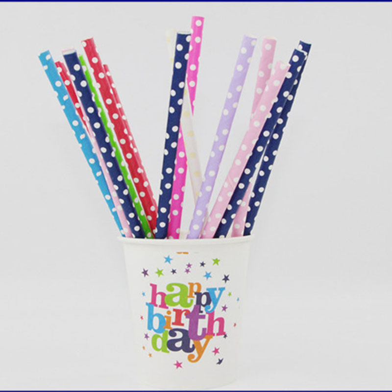 25pcs/Lot Polka Dot Paper Straws Green Biodegradable Disposable Pipette Birthday Party Wedding Colored Dot For Party(China (Mainland))