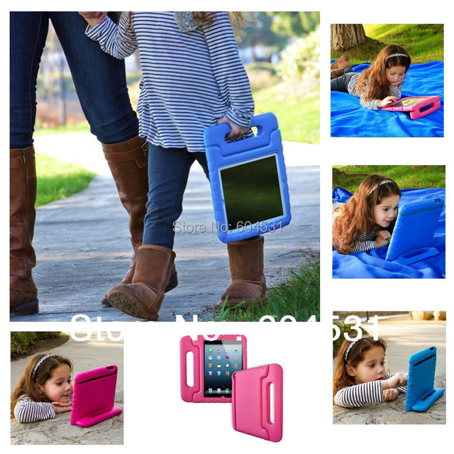Hot sales Soft EVA Foam Kids Child Proof purple Kickstand Case Cover for iPad 2/3/4  Free shipping