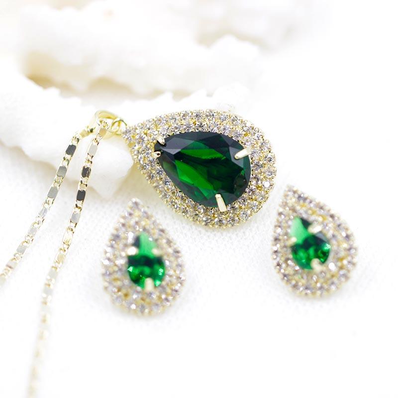 Best Gift Sapphire Earrings Pendant Neckalce 1.25ct AAA+ Royal Blue CZ Diamond Jewelry Sets Women - idix Z&H jewellery Store store