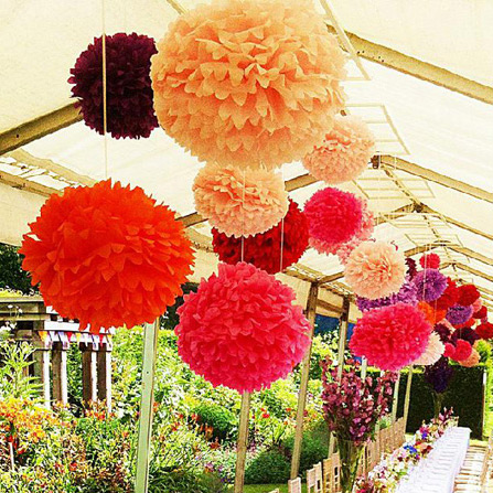 1PC Hot Sale 4''(10CM) Tissue Paper Pom Poms Wedding Party Decoration Paper Flower For Wedding Car Decoration /Garden Supplies(China (Mainland))