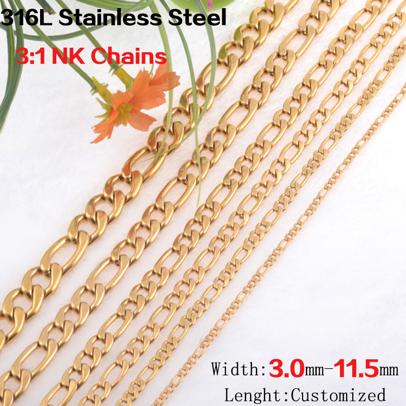 Lenght customized 3-11.5mm wide 18K Gold plated 316L stainless steel Figaro cuban link chain necklaces women&men fashion jewelry(China (Mainland))