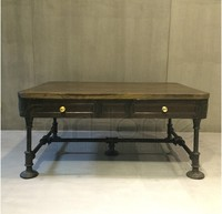 стол французского промышленного стиля лофт Америки ностальгические ретро настенные часы Железный деревянный расписной деревянный стол стол ящик длинный стол