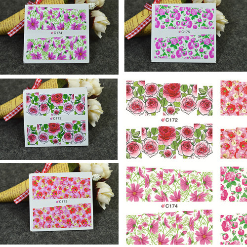 1sheet Charm Flowers Design Nail Art Water Transfer Full Cover Decal Wraps Stylish DIY Beauty Nail Art Decoration Tools#C172-175(China (Mainland))
