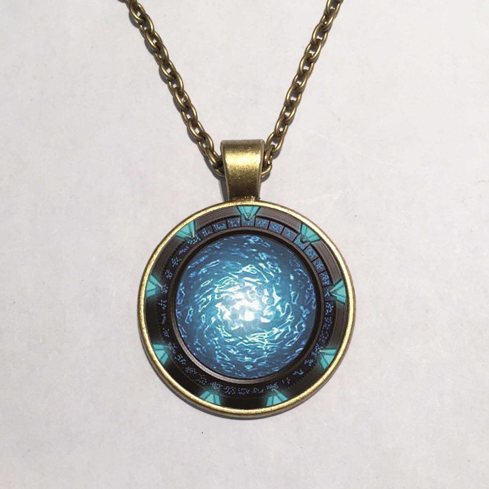 Necklace Pendants, Stargate Portal Atlantis Necklace Art Photo Glass Jewelry Glowing Necklace(China (Mainland))