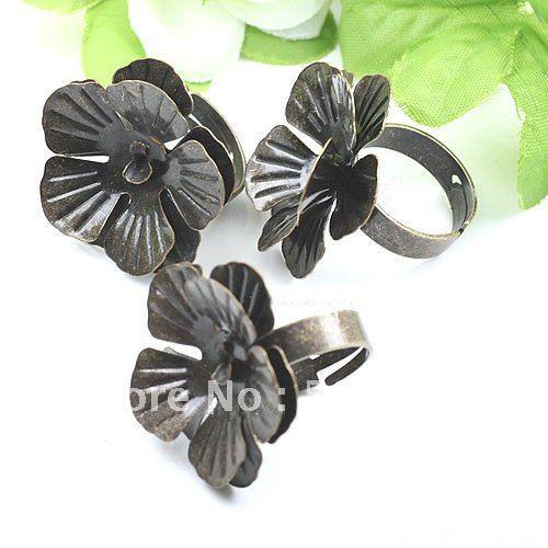 19mm(25mm Setting) Flower Bronze Ring Settings Cameo Cab Base Ring Settings Ring Accessory Wholesale 200pcs/lot LQJ072<br><br>Aliexpress