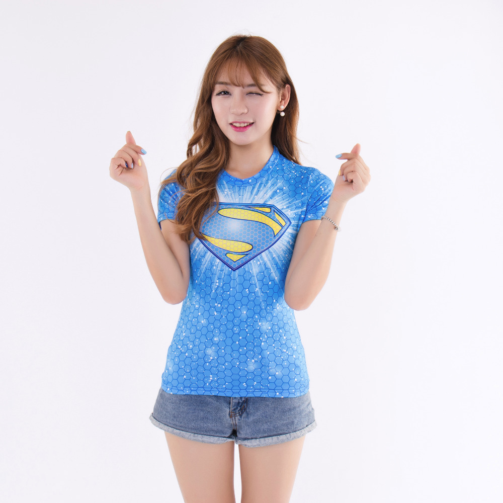 Women sport superman/captain america compression shirt women gym fitness running t shirt tights tops clothing poleras de mujer(China (Mainland))