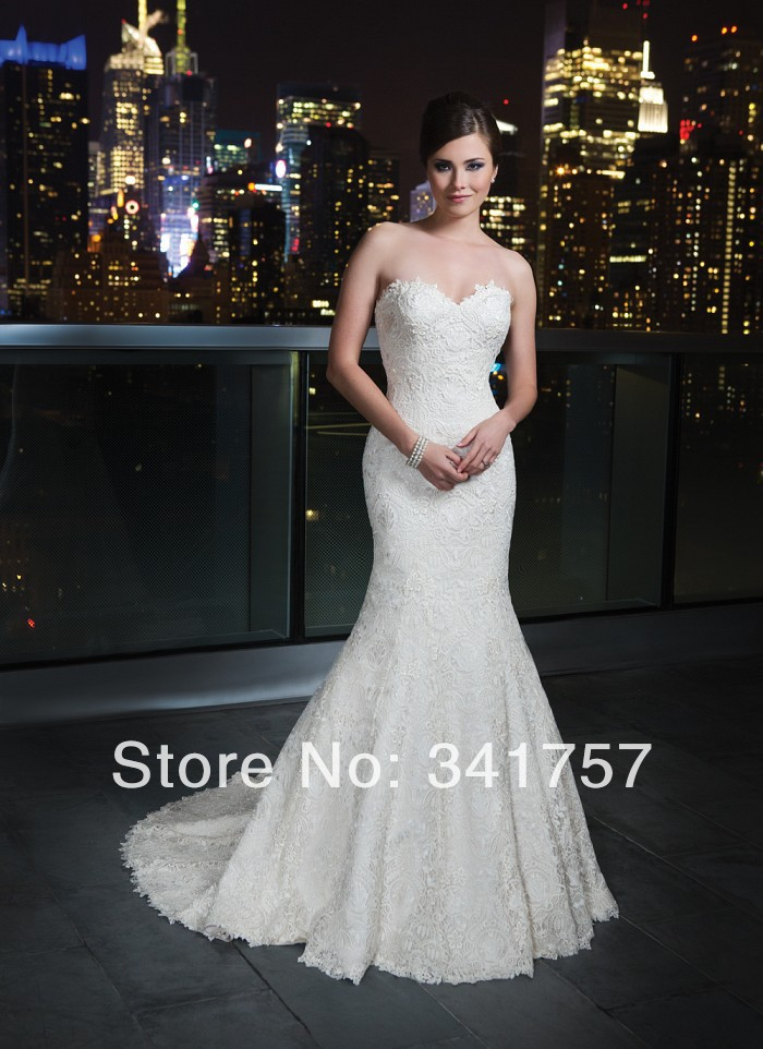 Vintage 2014 Lace Mermaid Wedding Dresses Sweetheart Bridal Gown Robe De Mariage WL898 - Full Romantic store