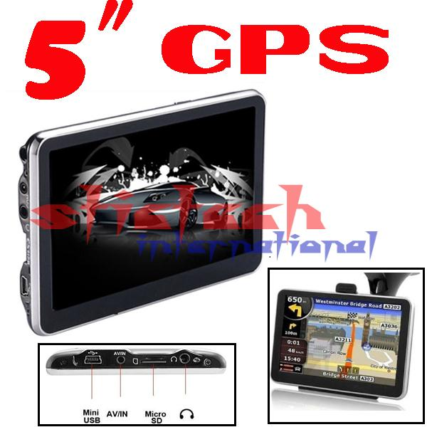 BY DHL OR EMS 100 pieces 256mb 8gb free shipping 5 inch Car GPS Navigator without Bluetooth built in 4GB memorey load 3D Map(China (Mainland))