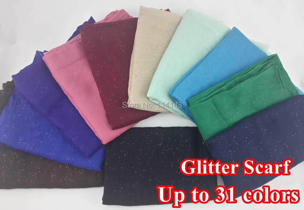 10pcs/lot Glitter Shinning Bling Scarf Shawl Head Wrap Plain Solid Color Long Shawls Muslim Scarves Hijab, Free Shipping(China (Mainland))